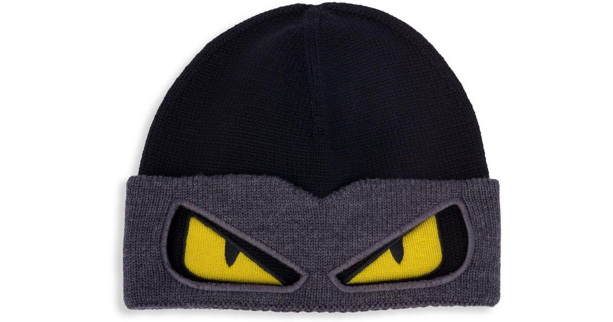 a4a6b683630 Lyst - Fendi Bag Bugs Convertible Wool Ski Hat in Black for Men
