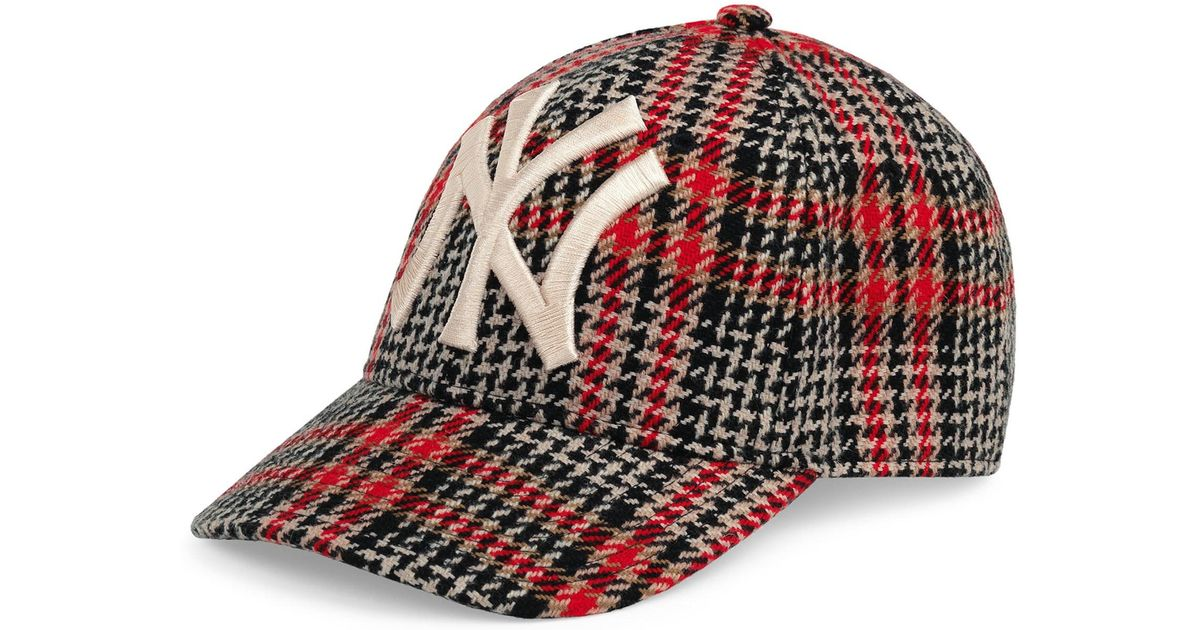 fa8fdc094dd Gucci Men s Houndstooth Baseball Cap With Ny Yankees Applique in Red for  Men - Save 4% - Lyst