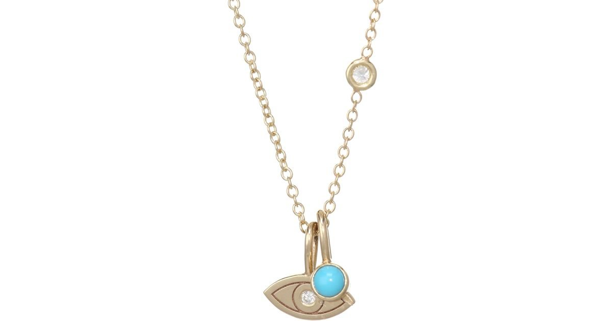 Lyst zoe chicco itty bitty diamond gold evil eye charm necklace lyst zoe chicco itty bitty diamond gold evil eye charm necklace in metallic aloadofball Images