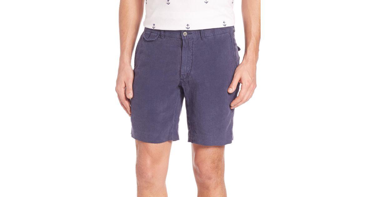 009357c60cd7b ... closeout lyst polo ralph lauren briton linen shorts in blue for men  38a93 40897
