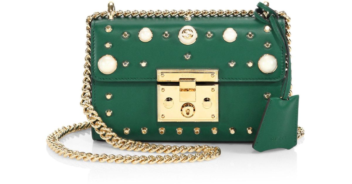 e3e2b304e0 Gucci Padlock Small Studded Leather Shoulder Bag in Green - Lyst