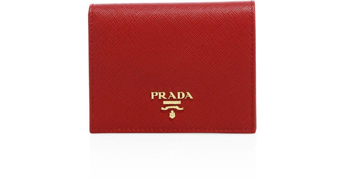 8945dd30e96f Prada Women's Mini Saffiano Leather Bifold Wallet - Black in Red - Lyst
