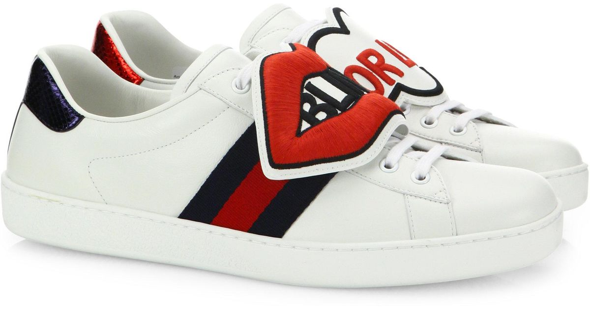 75fae221cf8 Lyst - Gucci New Ace Blind For Love Leather Sneakers in White for Men