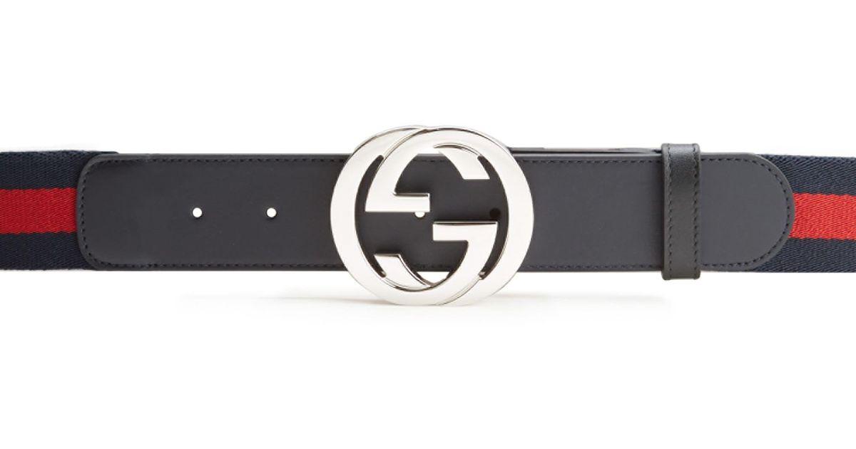 87d82ec19 Lyst - Gucci Interlocking GG Belt in Blue for Men