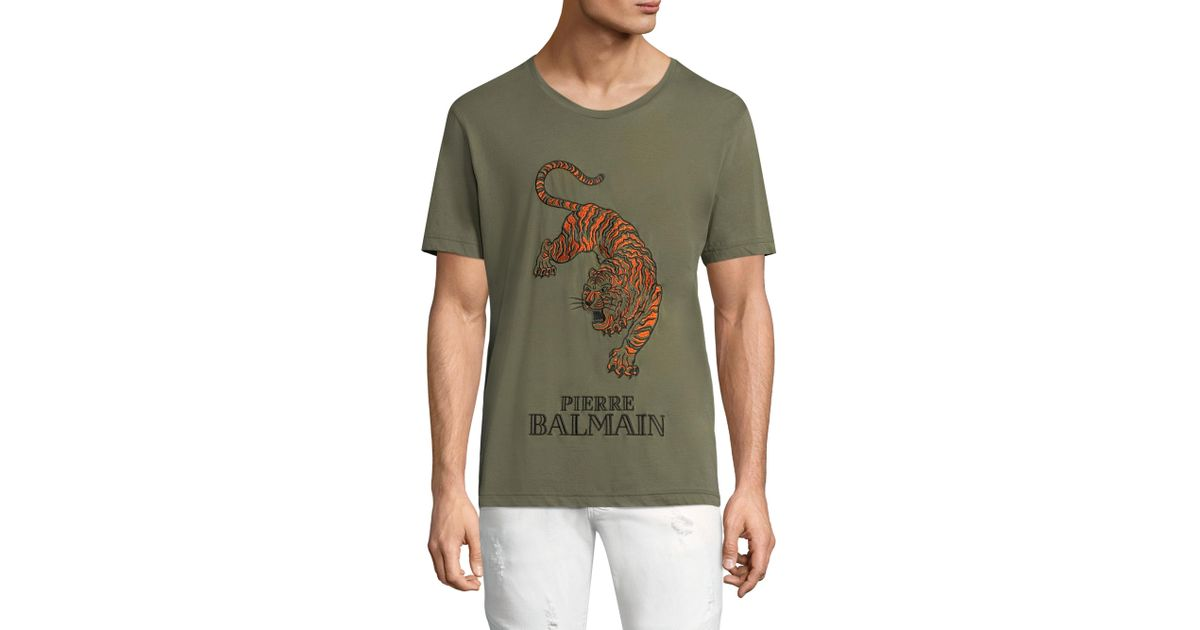 f535e43e Balmain Embroidered Tiger Cotton Tee in Green for Men - Lyst