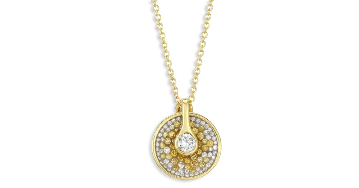 Lyst plev opus two tone diamond pendant necklace in metallic mozeypictures Images