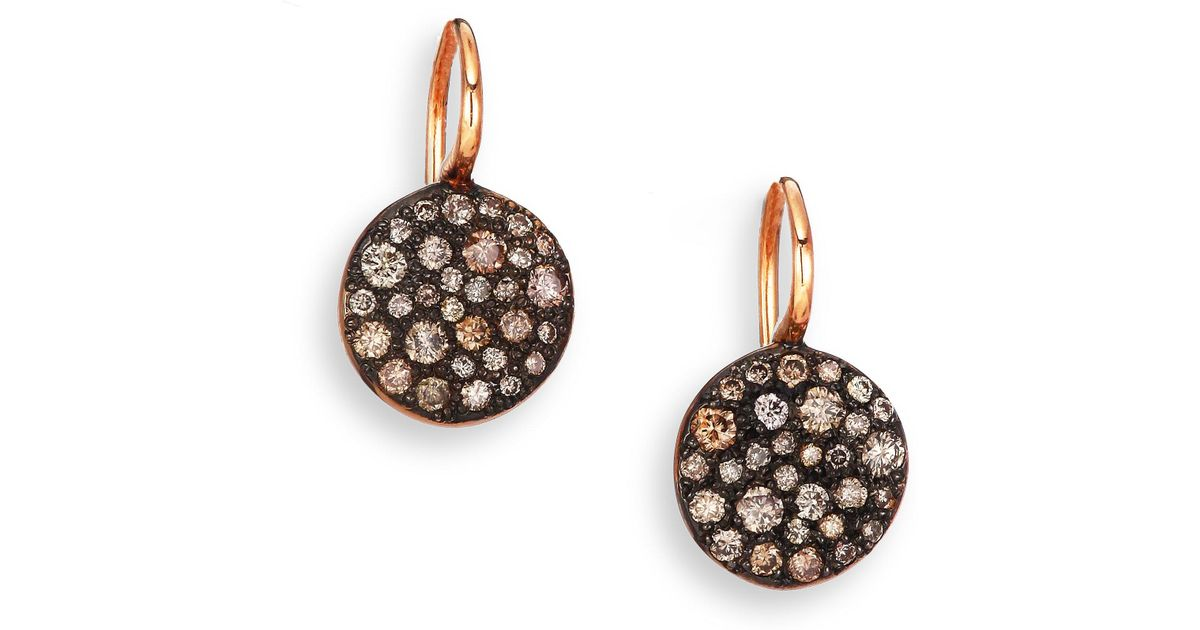 Lyst Pomellato Sabbia Brown Diamond 18k Rose Gold Drop Earrings In Pink