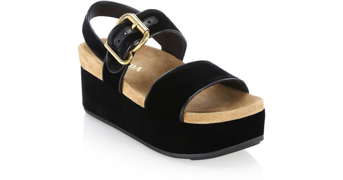 1d80c7981be Lyst - Prada Women s Buckle Strap Platform Sandal - Black - Size 36 (6) in  Black