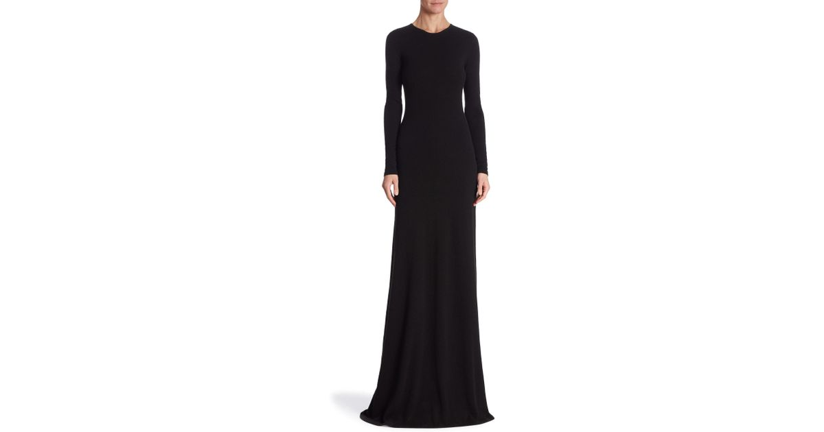 Lyst - Ralph Lauren Collection Long Sleeve Cashmere Gown in Black