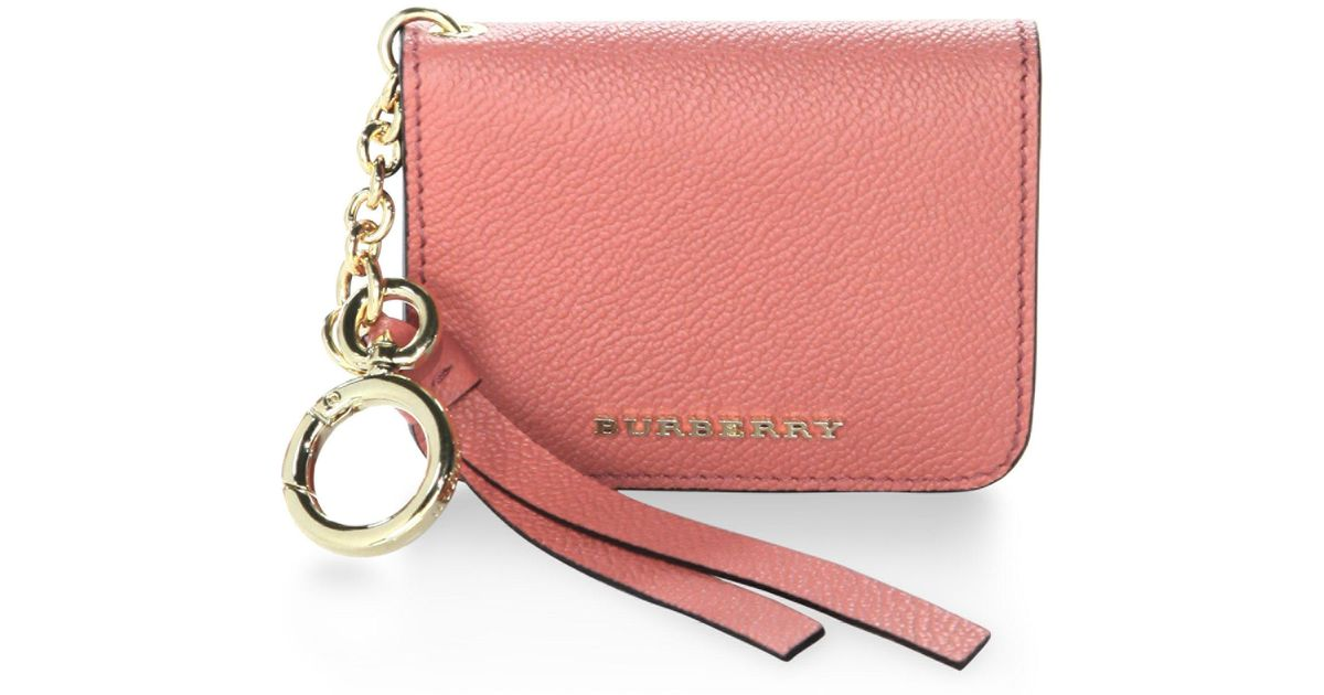 Burberry Small Square Leather Coin Case Charm, Pink