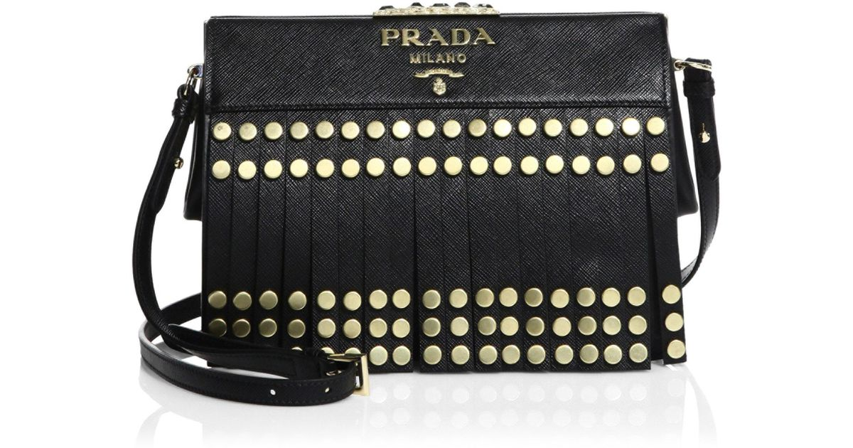 3e36e0f981b1 ... top quality prada studded fringe saffiano leather crossbody bag in black  lyst 9c1eb e159c