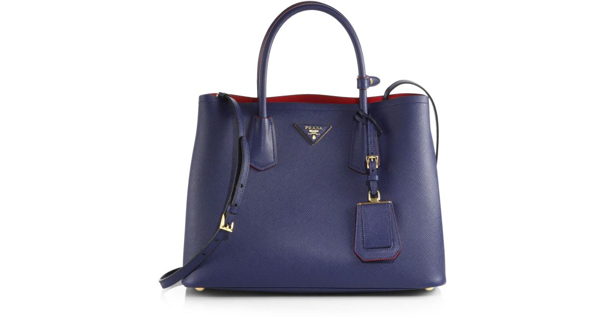 061b7133b619 ... and comparison to saffiano lux tote extra petite waysify amazon lyst prada  saffiano cuir small double bag in blue d3591 b20b4 ...