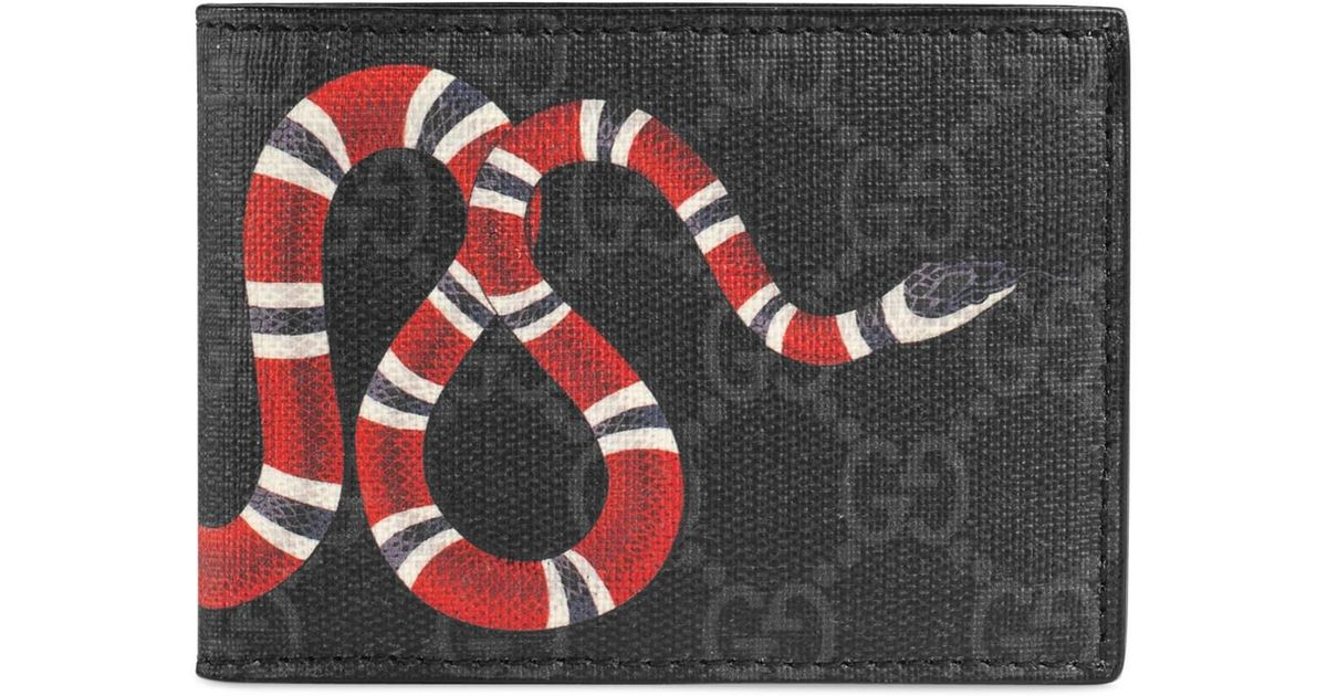 b46425172d2a Gucci Kingsnake Print GG Supreme Wallet in Black for Men - Lyst
