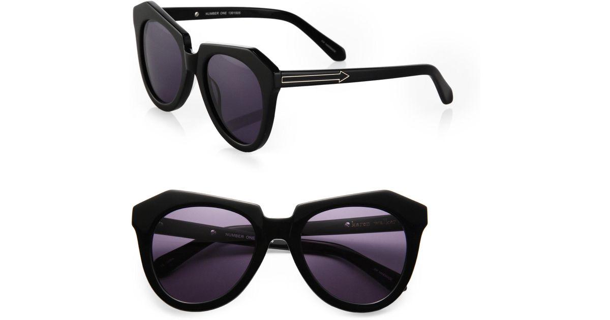 dbd267b7ecc8 Lyst - Karen Walker Number One Plastic Sunglasses in Black