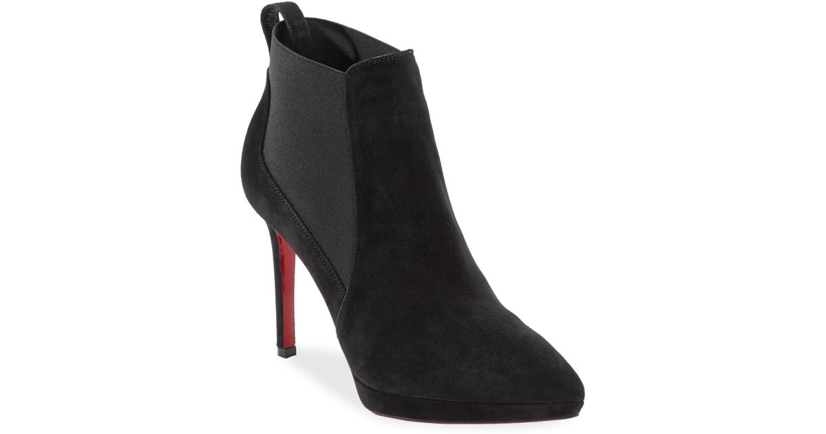 official site picked up delicate colors Christian Louboutin Black Crochinetta 100 Suede Booties