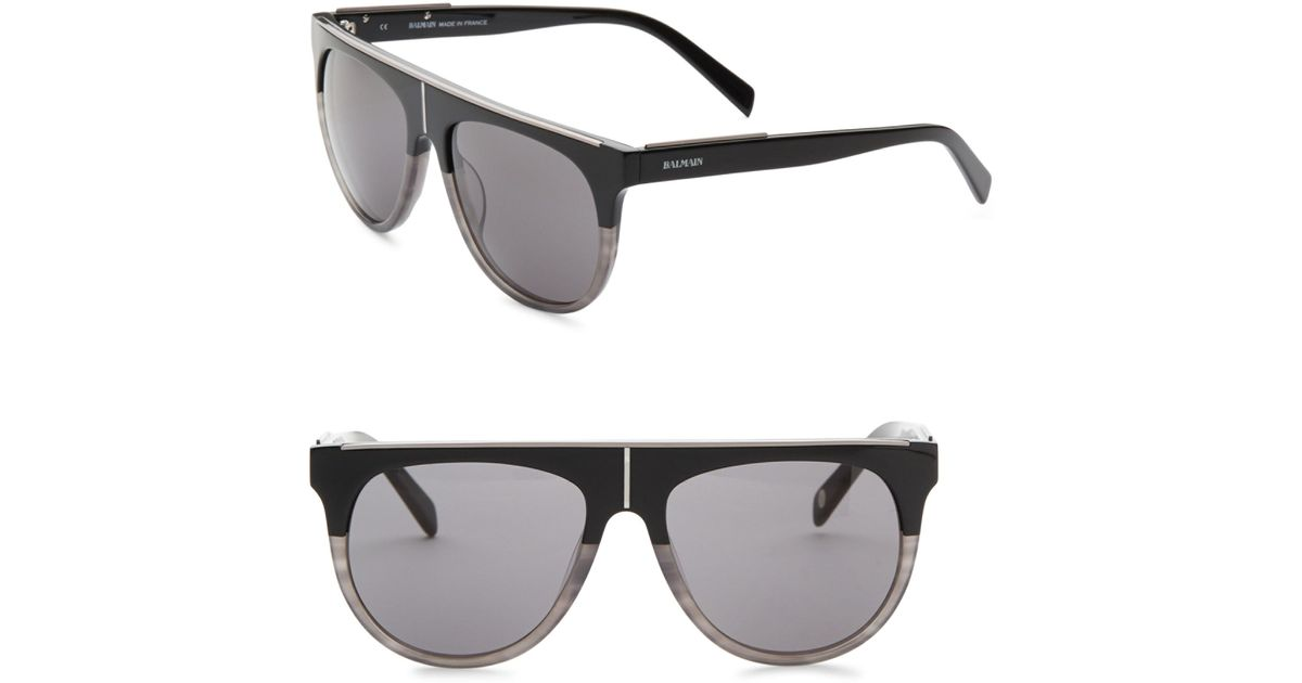 b0ae6e461bc Lyst - Balmain Men s Flat Top 55mm Aviator Sunglasses - Black in Black for  Men