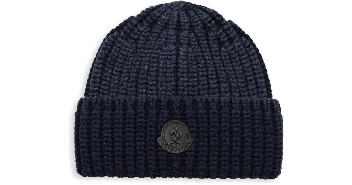 Lyst - Moncler Folded Knit Wool Beanie in Blue for Men a08ce14427d0