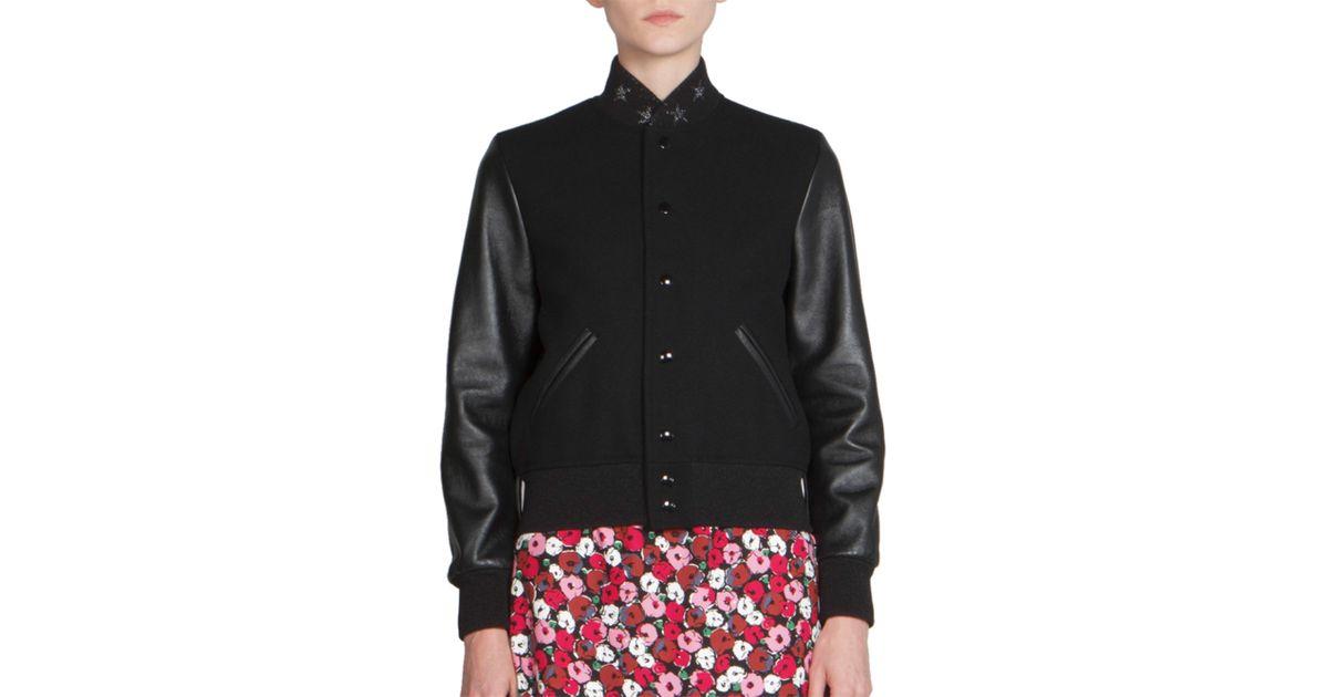 e711cb7e8 Saint Laurent - Black Leather-sleeve & Star Collar Teddy Jacket - Lyst