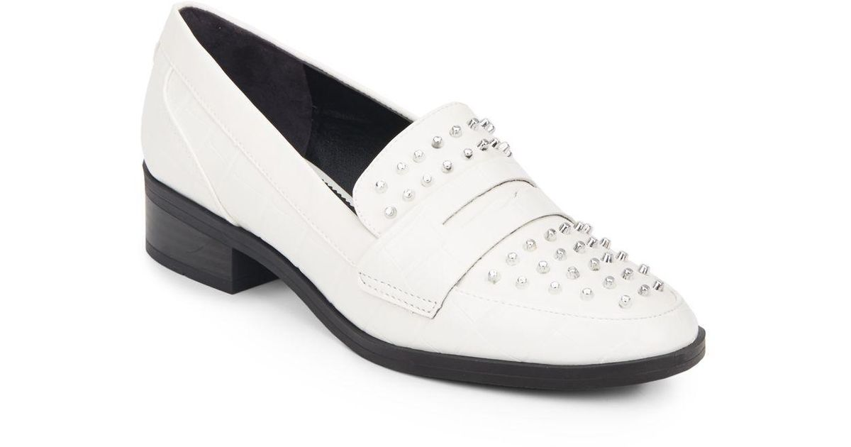 229905d0292925 Lyst - Circus by Sam Edelman Lali Studded Loafers in White