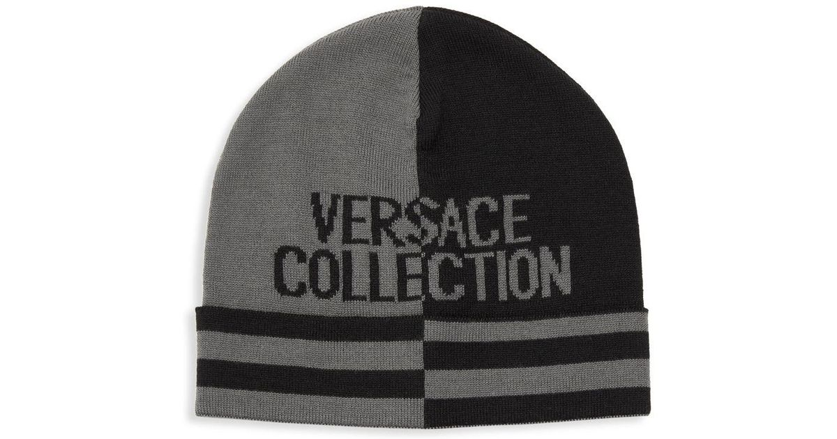 47528f6e Lyst - Versace Striped Two-tone Logo Beanie in Gray for Men