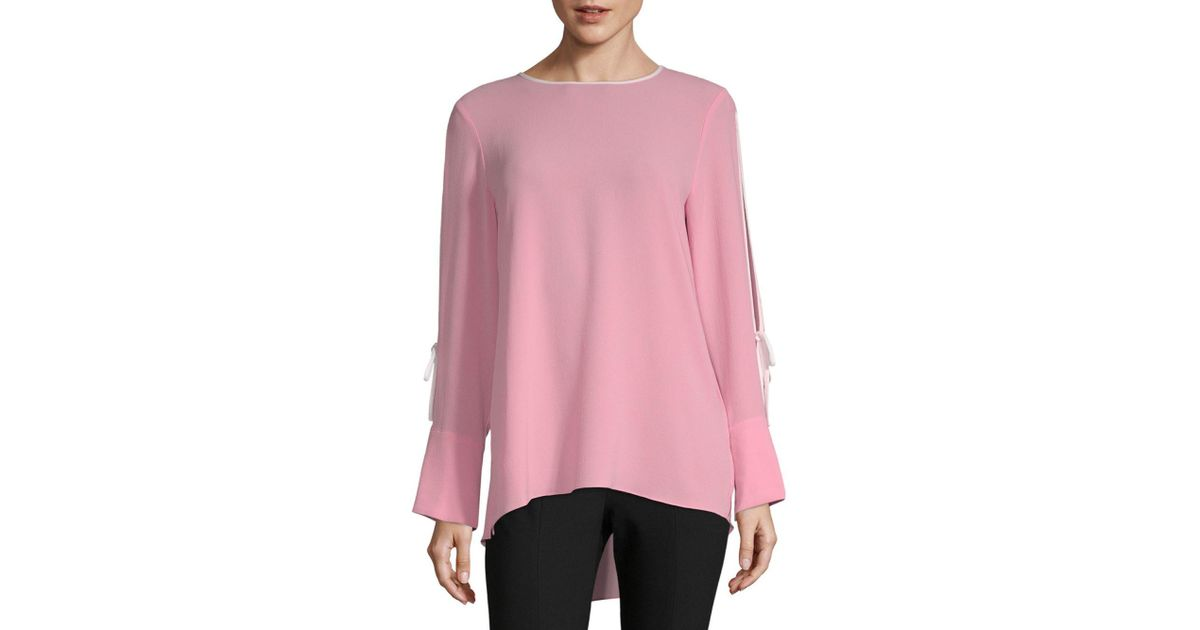 81ffccf1e3a3fa Vince Camuto Split-sleeve High-low Top in Pink - Lyst