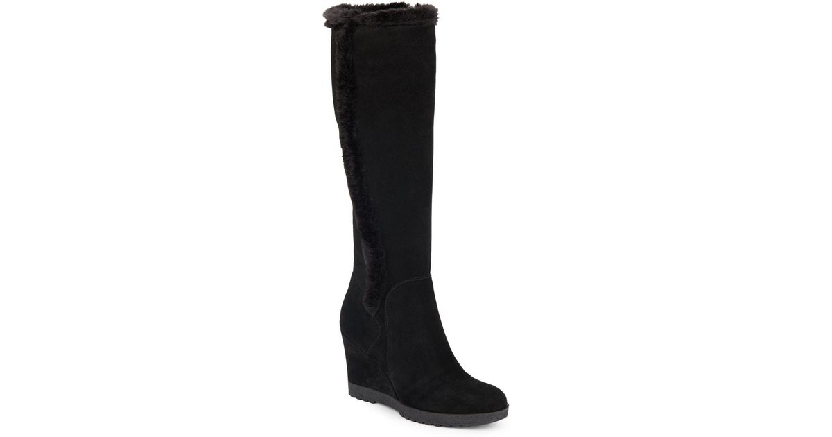 04cd96781ee Lyst - Aquatalia Curran Faux Fur-trimmed Suede Tall Wedge Boots in Black