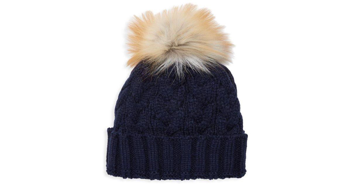 8deea4d5ff511a Lyst - Adrienne Landau Natural Fox Fur Pom Pom Hat in Blue