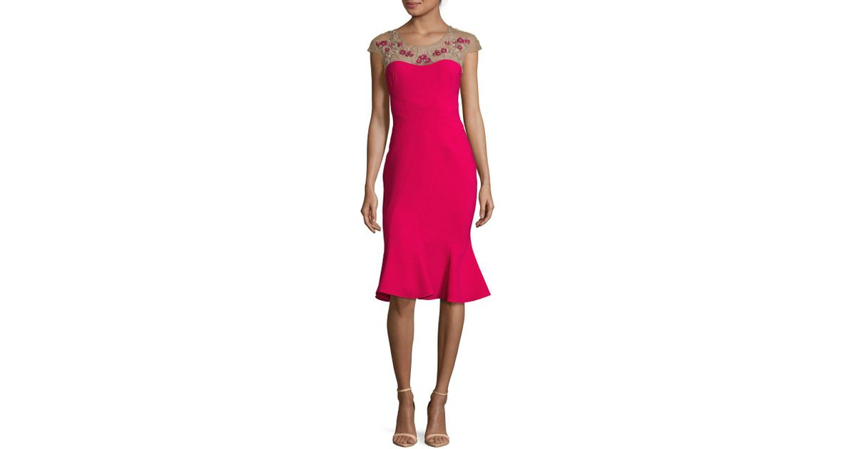 14a4b1af98b Marchesa notte Floral Embroidered Flounce Dress - Lyst