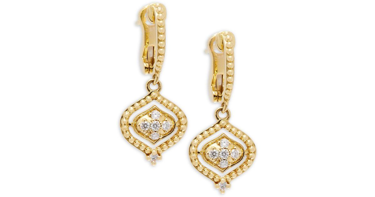 Lyst Judith Ripka Stella Diamond 18k Yellow Gold Drop And Dangle Earrings In Metallic