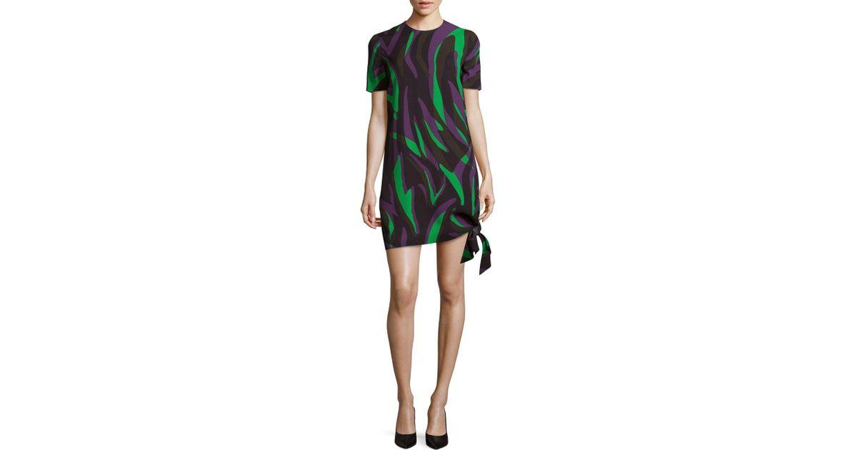 Lyst versace abito donna tessuto short sleeve mini dress in green
