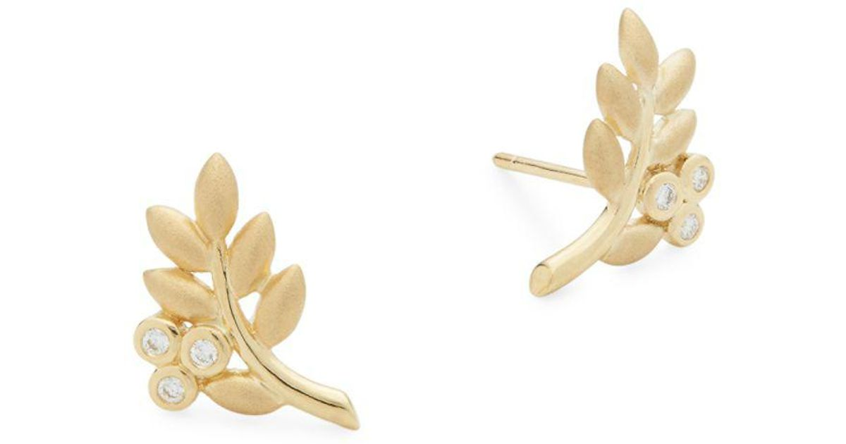 Temple St Clair Yellow Gold Diamond Olive Branch Stud Earrings In Metallic Lyst