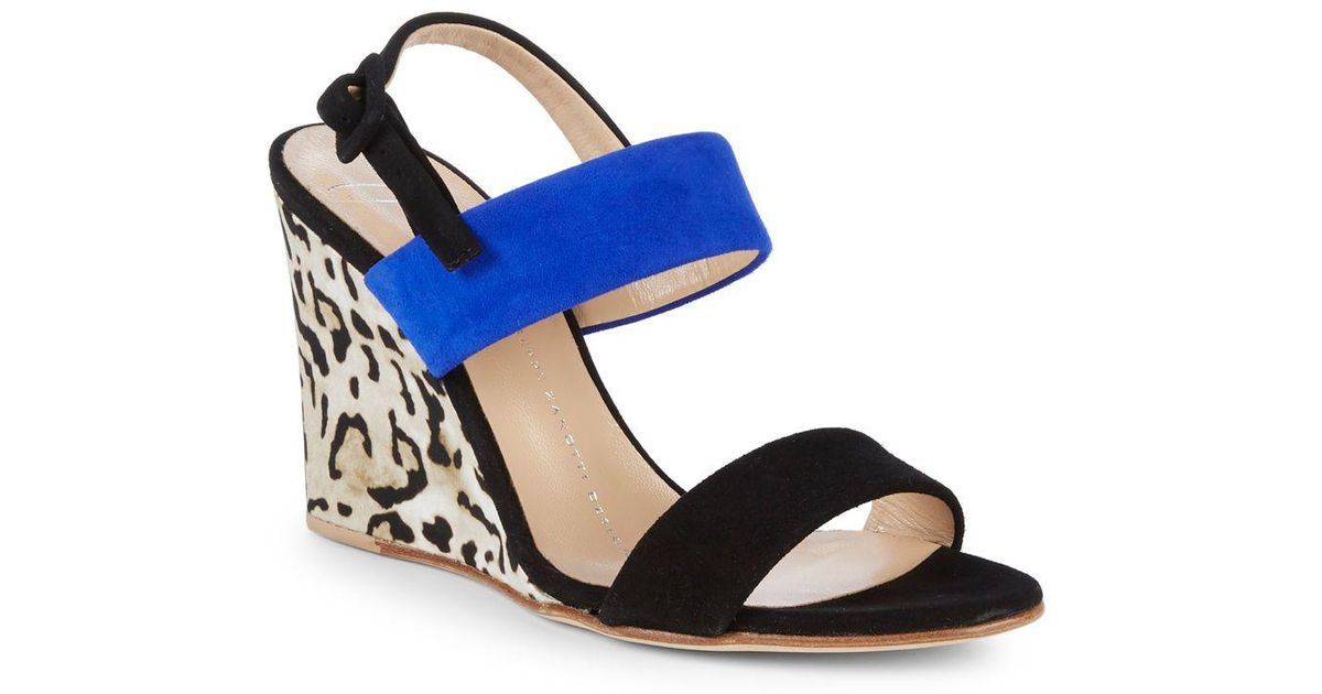 d5c23ffb22819a Lyst - Giuseppe Zanotti Colorblock Leather Wedge Sandals in Blue