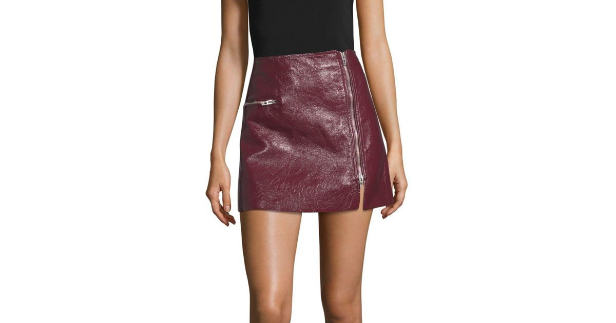 c3969a748a6c Lyst - Blank NYC Patent Zip Skirt in Red
