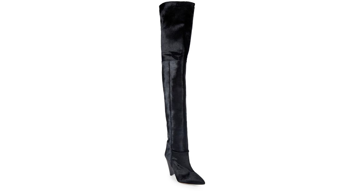 a5fe5e3978c Lyst - Isabel Marant Lostynn Calf Hair Over-the-knee Boots in Black