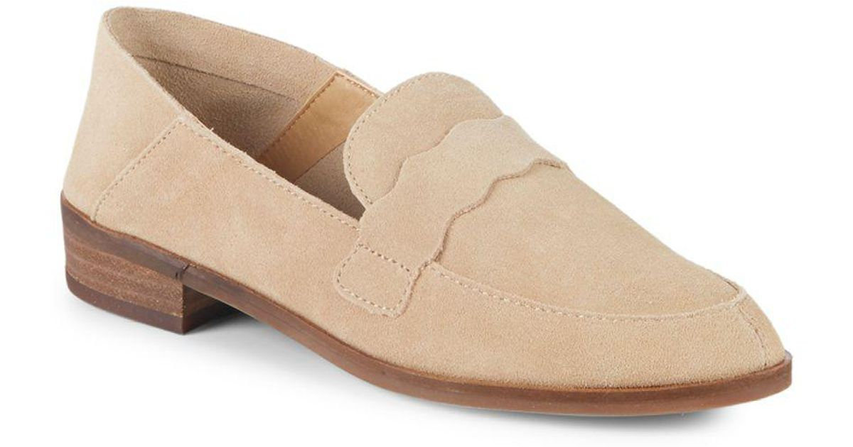 de5fc28b843 Lyst - Lucky Brand Claudina Stacked Heel Traditional Loafers in Natural