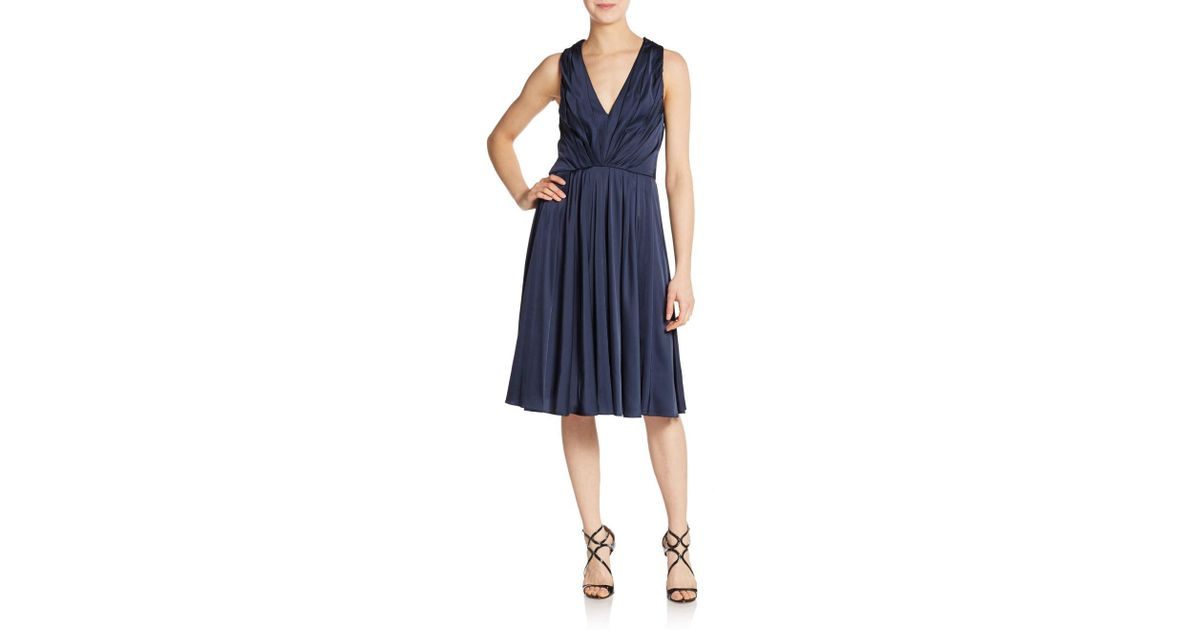 Lyst - Vera Wang Pleated Cocktail Dress in Blue