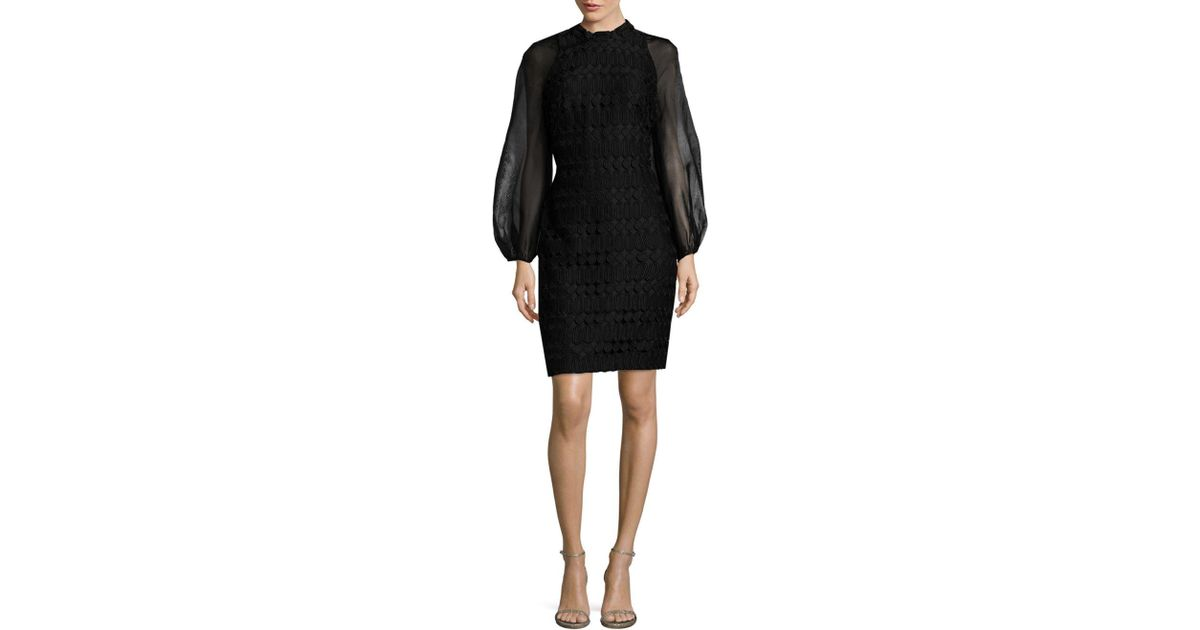 Lyst - Kay Unger Geometric Cocktail Dress in Black