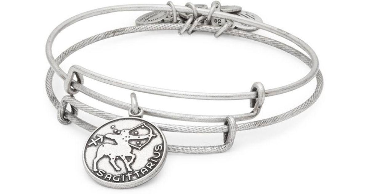 Lyst Alex And Ani Sagittarius Charm Textured Slip On Bracelet In Metallic