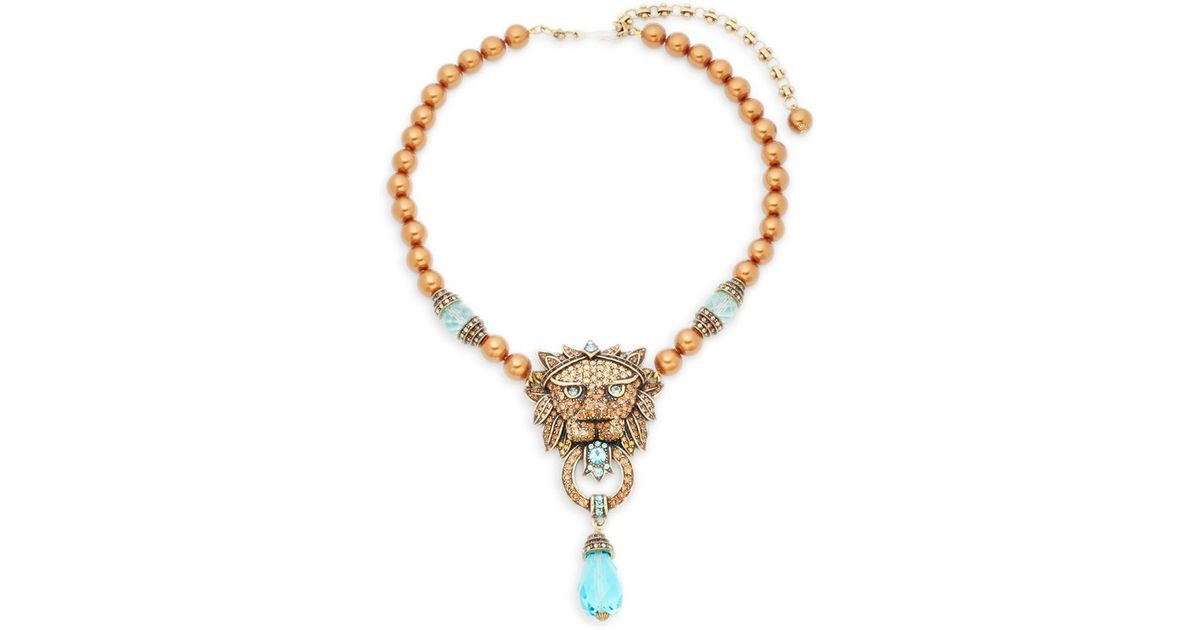 Lyst heidi daus beaded crystal lion pendant necklace in metallic aloadofball Choice Image