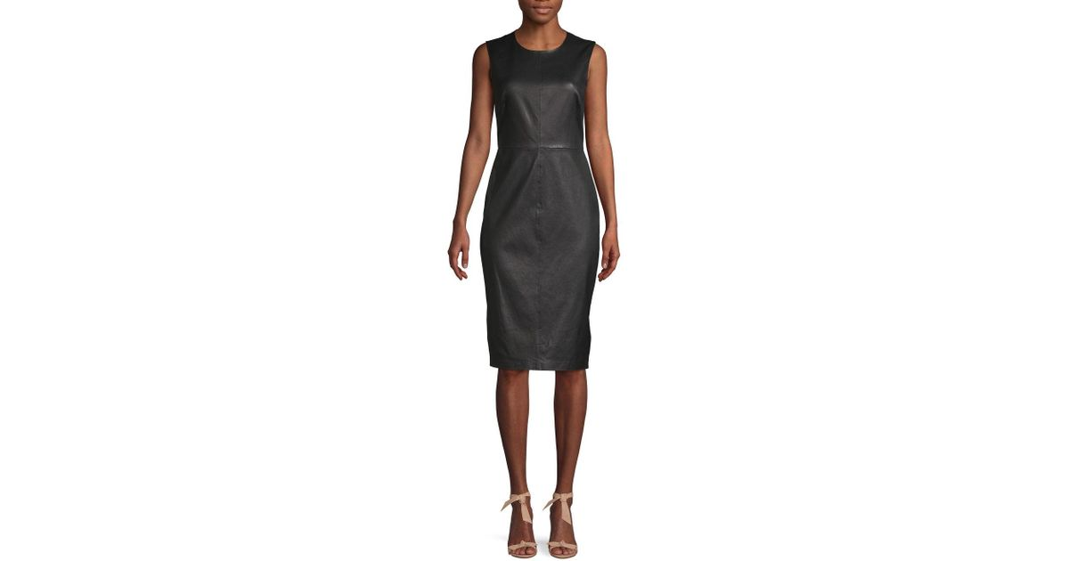 909d2a6b8bc Lyst - Saks Fifth Avenue Leather Sheath Dress in Black