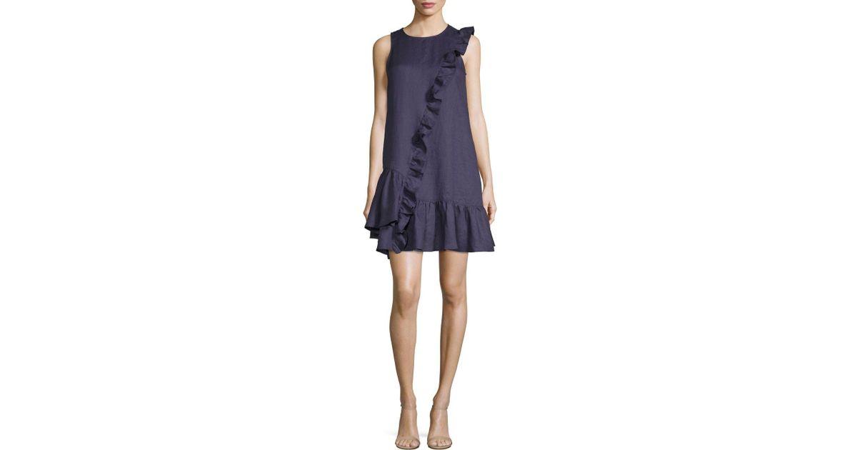 4f4fcb39ab30e9 Lyst - Saks Fifth Avenue Ruffle Sleeveless Linen Dress in Blue