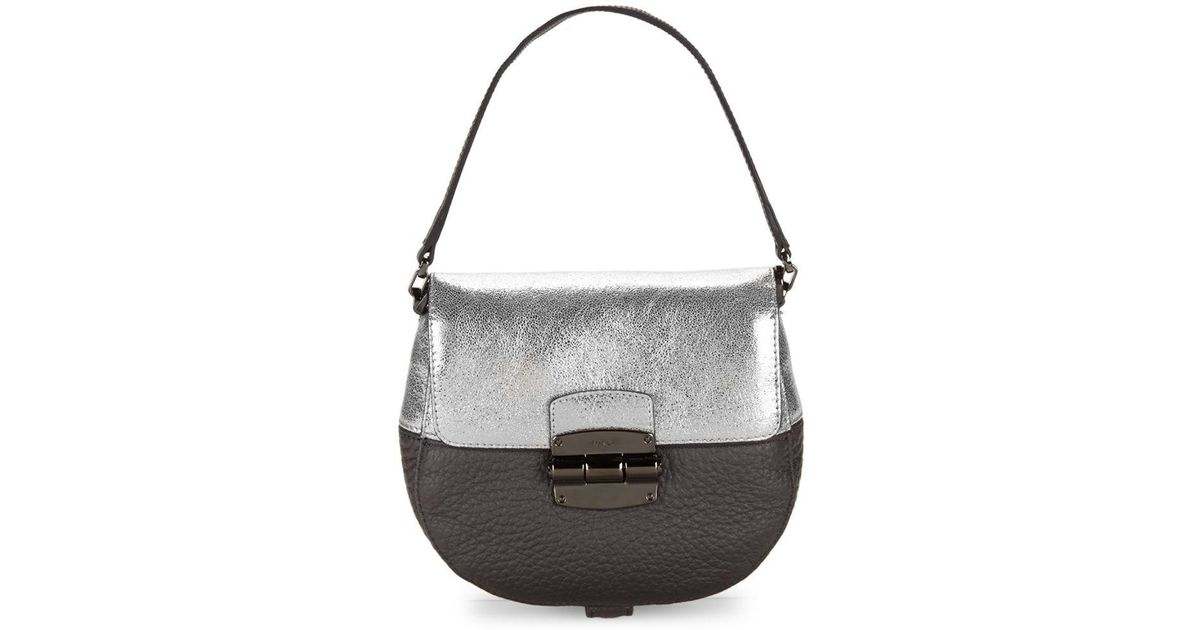 5e3e46432f63 Lyst - Furla Club Colorblock Leather Mini Crossbody Bag in Gray