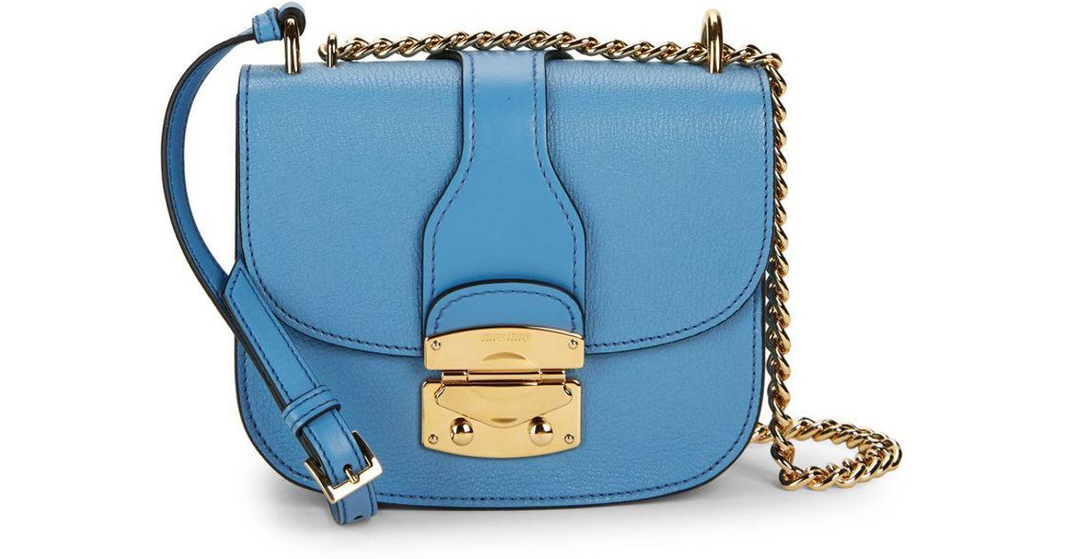 Lyst - Miu Miu Leather Saddle Crossbody Bag in Blue d9c6f0acfa4a8