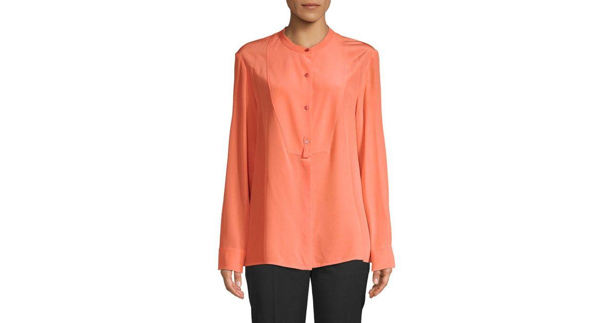 6beb3e15128e4 Stella McCartney Crisscross Silk Blouse in Orange - Lyst