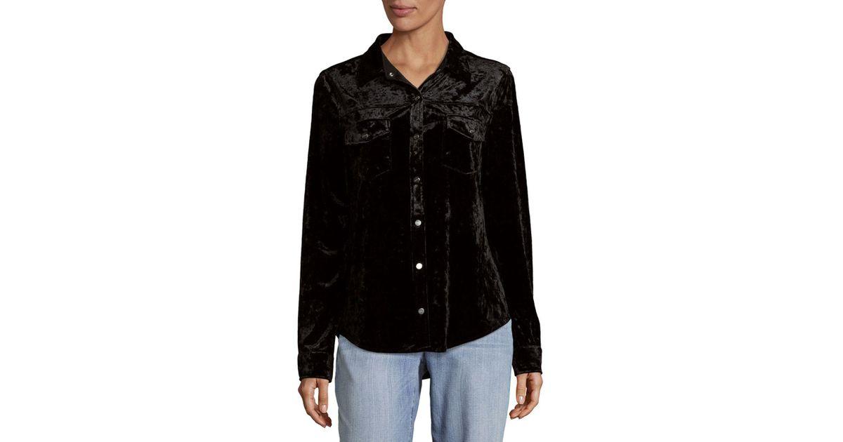 3974553ab Sanctuary Velvet Button-down Shirt in Black - Lyst