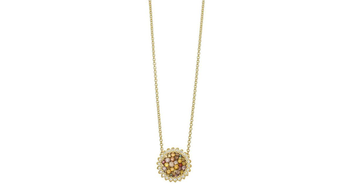 Lyst plev 18k yellow gold and diamond sunflower pendant necklace lyst plev 18k yellow gold and diamond sunflower pendant necklace in metallic aloadofball Gallery