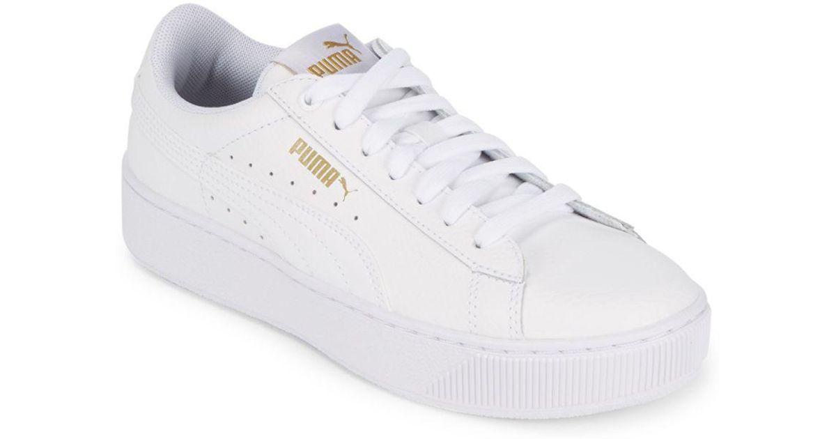 64b76625b85e32 PUMA - White Lace-up Round Toe Sneakers - Lyst