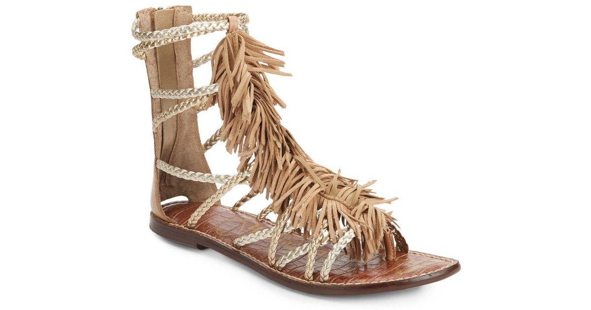 450f02c84 Lyst - Sam Edelman Gisela Fringed Metallic Leather Gladiator Sandals in  Brown