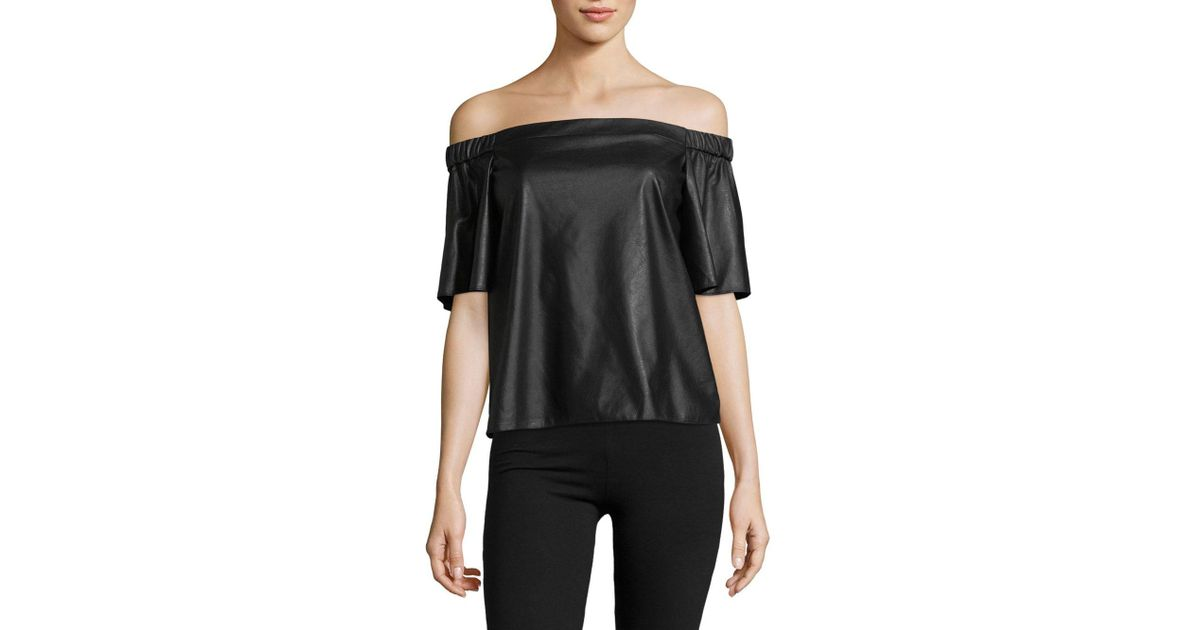 20567fef8c007b Lyst - Bailey 44 Cindy Faux Leather Off-the-shoulder Top in Black