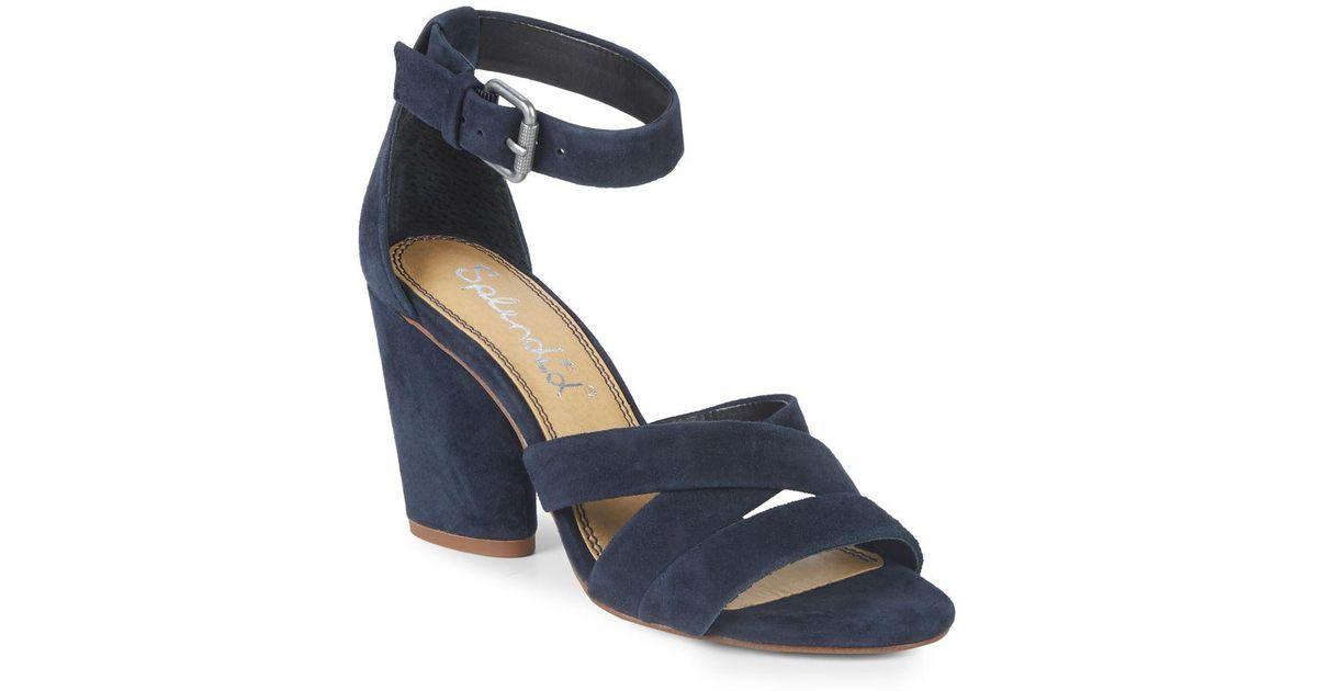 69362a2f847 Lyst - Splendid Nolan Block Heel Suede Sandals in Blue